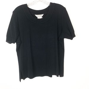 Exclusively Misook Black Acrylic Knit Blouse Top